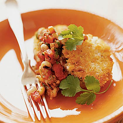 Hoppin' John Cakes with Grilled Tomato and Black-Eyed Pea Salsa