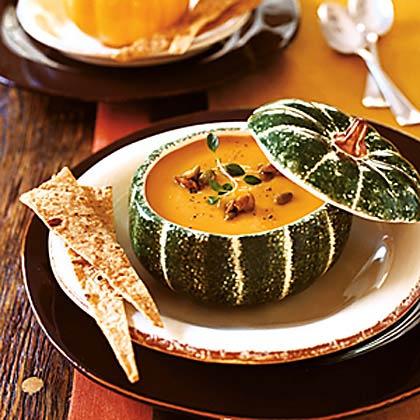 Pumpkin Soup with Candied Pumpkin Seeds