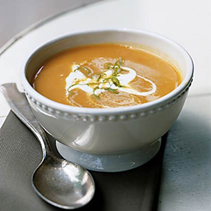Pumpkin Coconut Soup RecipeTraditional tastes go tropical in this comforting holiday soup.  Garnish with whipping cream or crème frâiche, toasted coconut, and lime zest curls for extra presentation points.