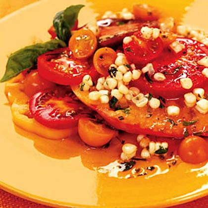Sliced Tomatoes with Corn and Basil Recipe