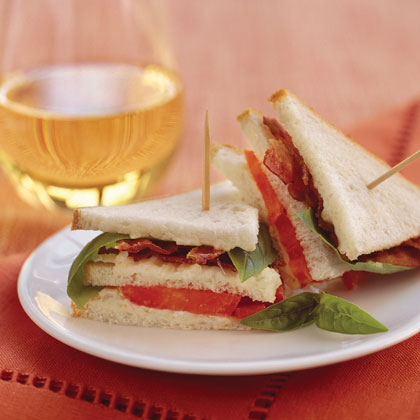 Mini Bacon, Tomato, and Basil Sandwiches Recipe
