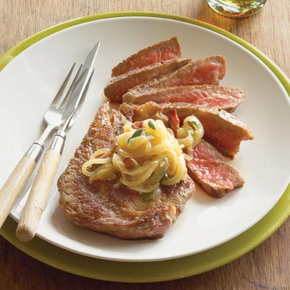 Rib-eyes with Beer-Onion Relish