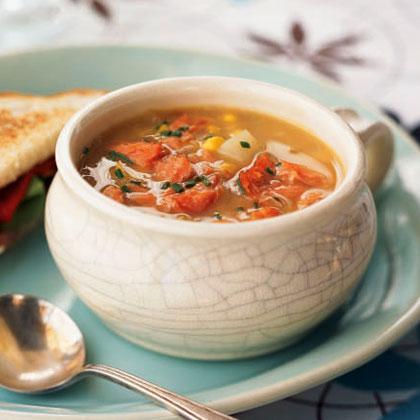 Sweet Corn Chowder with Hot-Smoked Salmon Recipe