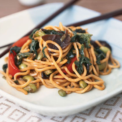 Vegetable Lo Mein with Edamame and Mustard Greens