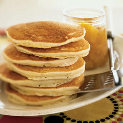Coconut Pancakes with Orange-Mango Compote