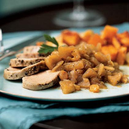 Chai-Brined Pork Tenderloin with Spiced Apple Chutney