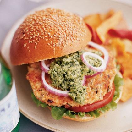 Wasabi Salmon Burgers with Edamame-Cilantro Pesto