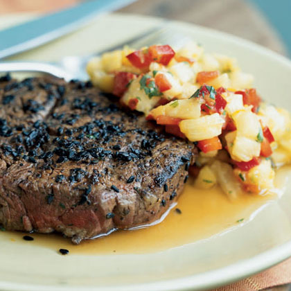 Sesame-Crusted Beef Tenderloin Steaks with Pineapple, Mango, and Red Pepper Relish