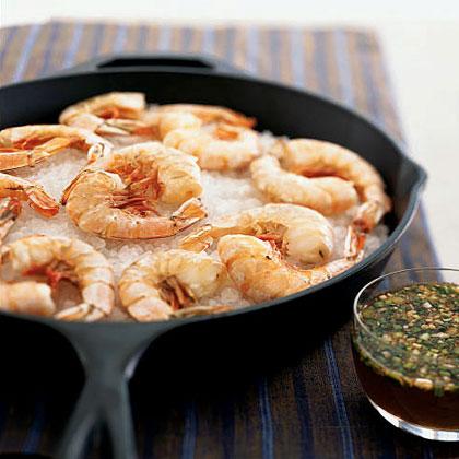 Salt-Roasted Shrimp with Lemon-Honey Dipping SauceRecipe