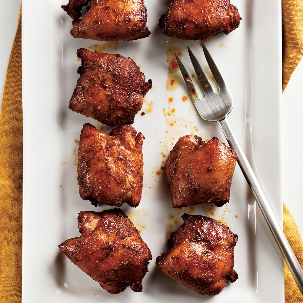 Spicy Honey-Brushed Chicken Thighs Recipe | MyRecipes