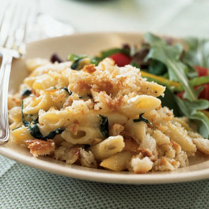 Penne with Pancetta, Spinach, and Buttery Crumb Topping Recipe