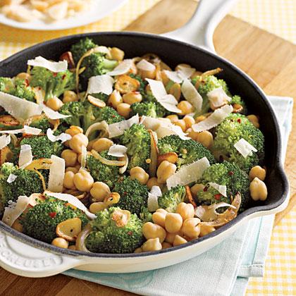 Sautéed Chickpeas with Broccoli and Parmesan