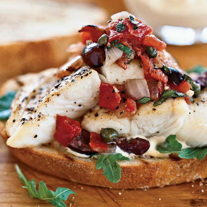 Halibut Sandwiches with Grilled Puttanesca Salsa Recipe