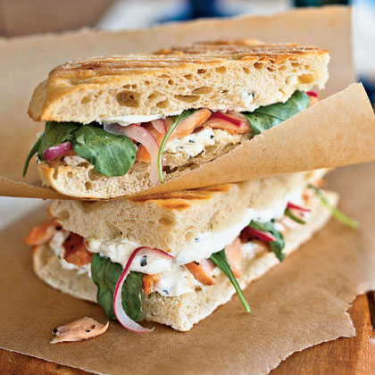 Grilled Smoked Salmon Panini with Red Onion Ribbons