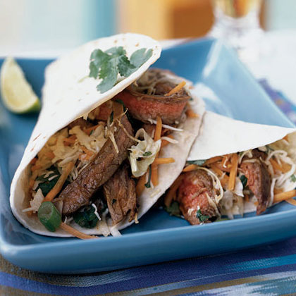 Thai Beef Tacos with Lime-Cilantro Slaw Recipe | MyRecipes.com