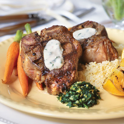 Grilled Lamb Chops With Lemon-Tarragon Aïoli and Orange Gremolata RecipeThe chops are simply seasoned with olive oil, salt and pepper, but the over-the-top flavor comes from the lemon mayonnaise topping and the sprinkling of parsley, garlic, and orange rind.