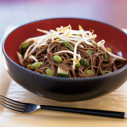 Spicy Cucumber Noodle Salad with Edamame