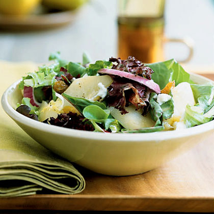 Poached Pear and Greens Salad Recipe