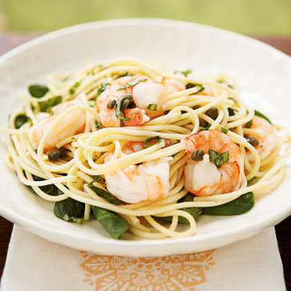 Lemon Basil Shrimp and Pasta Recipe | MyRecipes.com