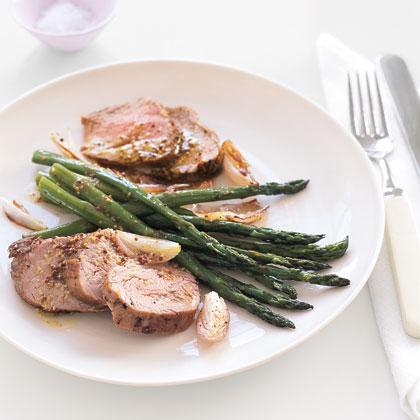 Roast Pork and Asparagus with Mustard Vinaigrette