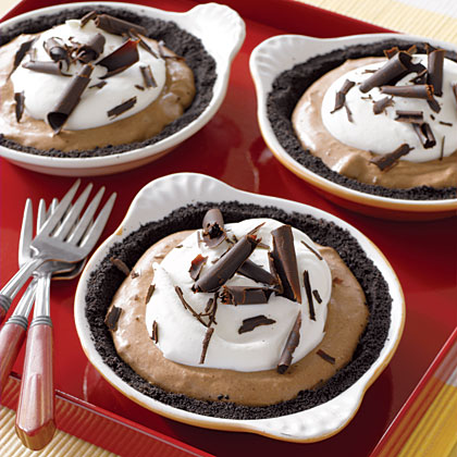 Mocha Cream Pie                            RecipeImpress guests by serving individual pies to each dinner guest or couple at the table. Make the heavenly crust by crumbling chocolate cookie sandwiches and combining with a little butter, for good measure.