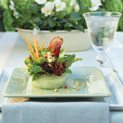 Artistic bacon and cucumber salad