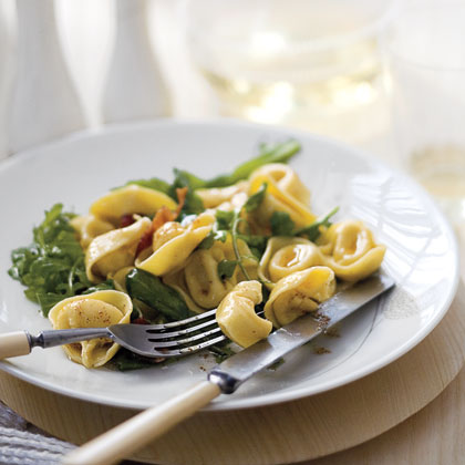 """Tortellini with Bacon, Greens, and Brown Butter"""