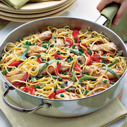 Cajun Chicken Pasta RecipeOne easy way to kick up the flavor in a dish is to add Cajun seasoning. Here, the seasoning is sprinkled on the chicken strips before they're sautéed and tossed into the linguine-vegetable mixture.