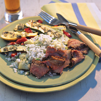 Garlic Flank Steak RecipeGet back to basics with this five-ingredient steak. If you've got olive oil, garlic, salt and pepper on hand, you're ready to get started.