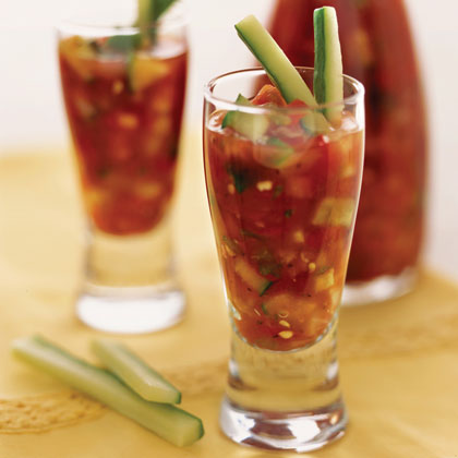 Gazpacho Shooters RecipeServe this easy, 3-ingredient gazpacho in tall shot glasses garnished with cucumber sticks for an eye-catching appetizer.