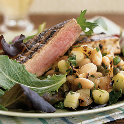 Grilled Tuna with White Bean and Charred Onion SaladRecipe