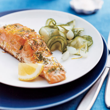 Grilled Lemon-Dill Salmon with Cucumber SaladRecipe
