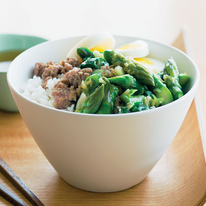 Pork and Asparagus Rice Bowl