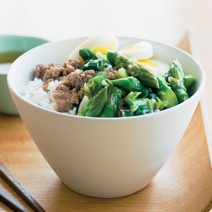Pork and Asparagus Rice Bowl