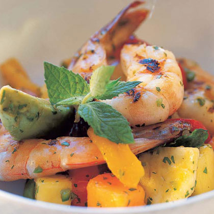 Tropical Fruit, Avocado, and Grilled Shrimp Salad