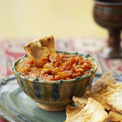 Tomato Chutney with Baked Pita Chips Recipe