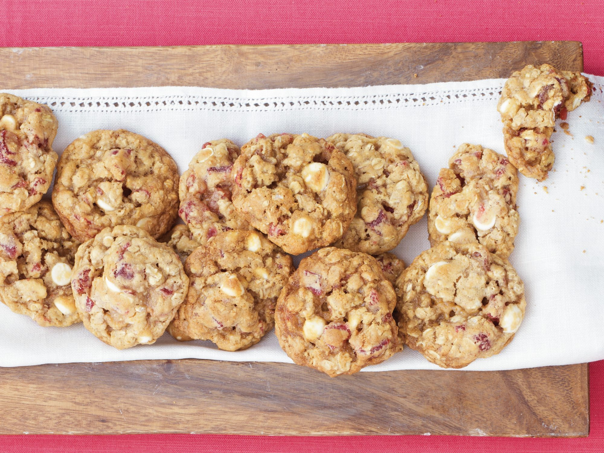 White Chocolate, Strawberry, and Oatmeal Cookies