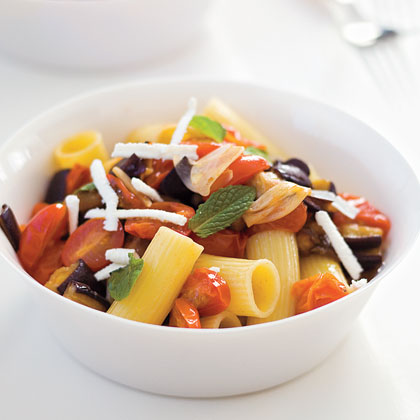 """Rigatoni with Sautéed Eggplant and Tomatoes"""