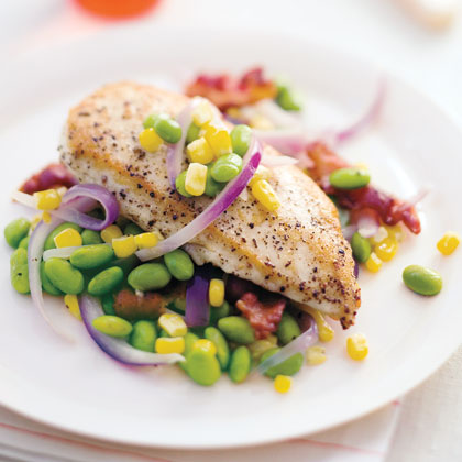 """Sautéed Chicken with Corn and Edamame"""