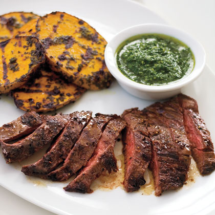 Grilled Skirt Steak and Potatoes with Herb Sauce