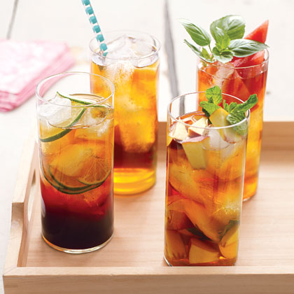 Watermelon and Basil Iced Tea RecipeObviously, we're into infusing your tea with fresh, in-season fruits. Watermelon wedges add a light sweetness and make for a gorgeous presentation.