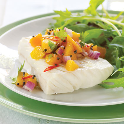 Chilled Poached Halibut with Fresh Apricot Salsa Recipe