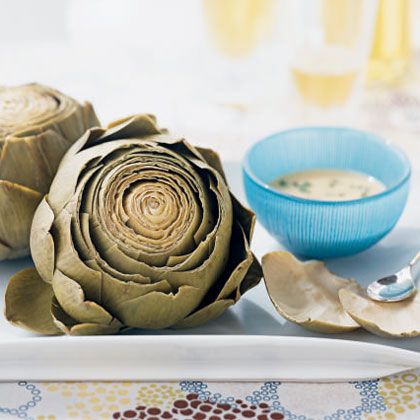 Artichokes with Roasted Garlic-Wine Dip Recipe