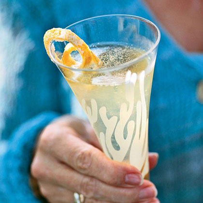 Champagne-Limoncello Aperitifs with Candied Lemon Peel