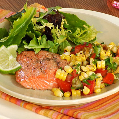 Grilled Salmon with Roasted Corn Relish Recipe