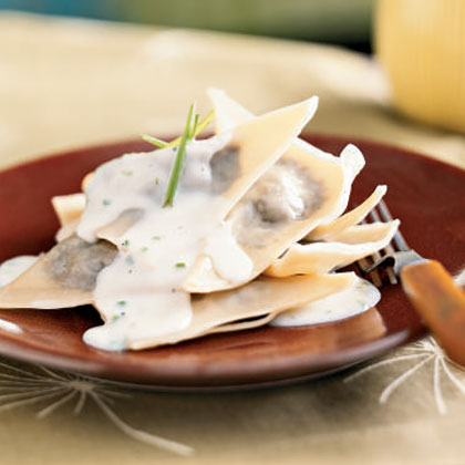 Mushroom Ravioli with Parmesan-Chive Sauce Recipe