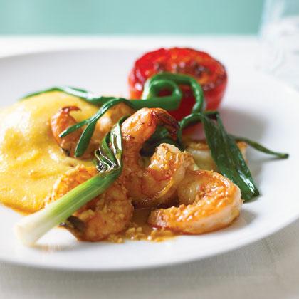 Shrimp with Bacon-Cheese Polenta