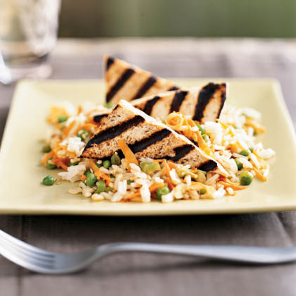Orange-Glazed Tofu Triangles with Sesame Rice