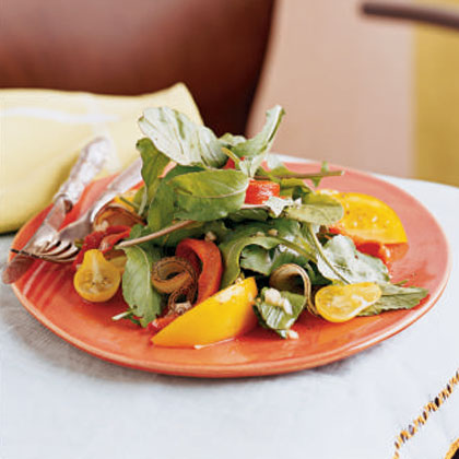 Grilled Vegetable, Arugula, and Yellow Tomato Salad Recipe