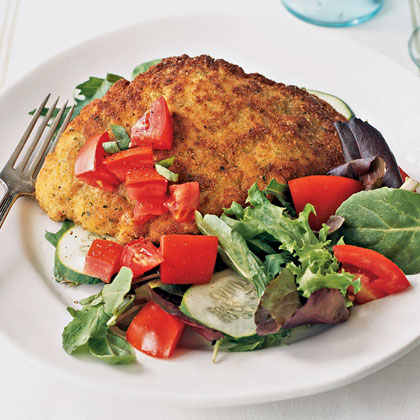 Sautéed Chicken Cutlets with Mixed Baby Greens Recipe